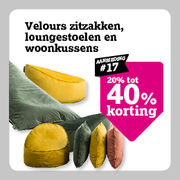 tot 40% korting op velours zitzakken, loungestoelen en woonkussens