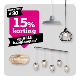 15% korting op hanglampen