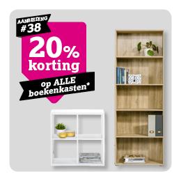 20% korting op boekenkasten