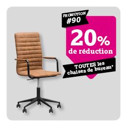20% de reduction sur chaises de bureau