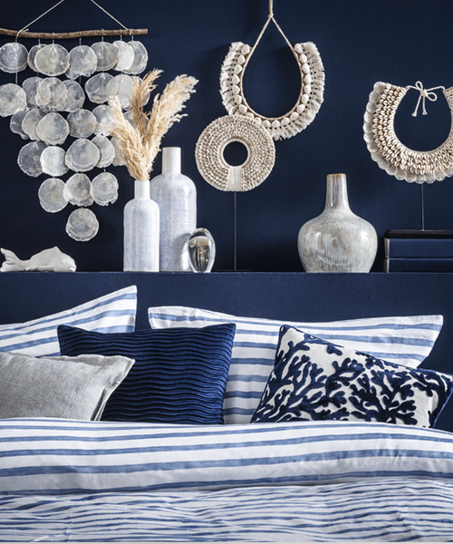 Trendcollectie: wonen in blauw in de woonkamer