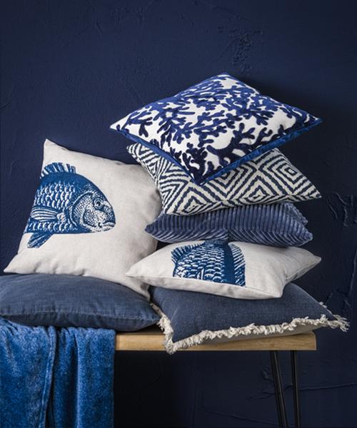 Coussins decoratif: collection intérieur blue