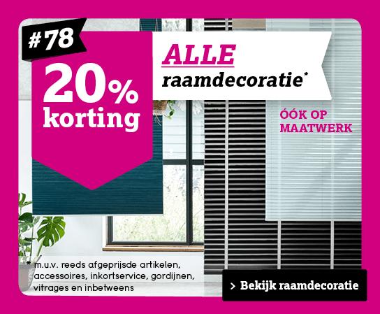 20% op alle (maatwerk)raamdecoratie