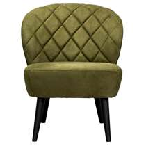 De Vita is een stoere fauteuil met retrolook die absoluut niet mag ontbreken in uw inrichting! Deze mooie vormgegeven fauteuil is uitgevoerd in een groene stof met de naam Mindelo. De slanke poten maken de stoel af.