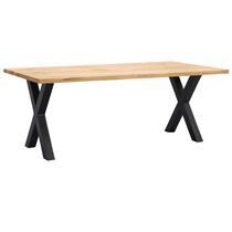 Table de salle à manger Houston pieds X - 75x200x100 cm - chêne/noir