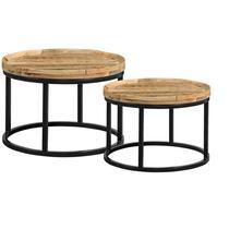 Ilja table de salon - naturelle/noire (le lot de 2) - 40x70 cm