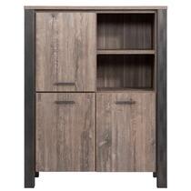 Vitrine Kai - brun couleur chêne - 150x118x50 cm