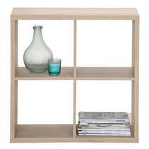 Boekenkast Parijs is een leuke wandkast met 4 open vakken. De kast heeft een eikenkleur en een afmeting van 73x73x33 cm.