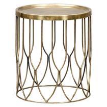 Bijzettafel Verdi is een moderne tafel gemaakt van metaal. Het tafeltje is messingkleurig en biedt veel ruimte om leuke decoratie of handige dingen op te zetten en te leggen.