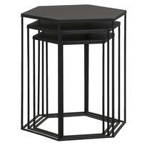 Bijzettafel Bologna - zwart - set van drie - 50,5x45,5x40 cm