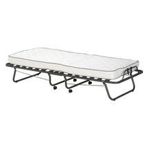 Lit d'appoint Milan, en métal couleur anthracite, très pratique, dépliable et repliable. Ce lit gain de place est pourvu d'un solide sommier à lattes, d'un matelas en mousse et une housse de protection.