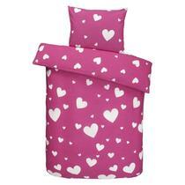 Parure de couette Lindi a des dimensions de 120x150 cm et est faite en coton souple. La parure rose est imprimée de petits coeurs blancs, charmante pour la chambre de filles!