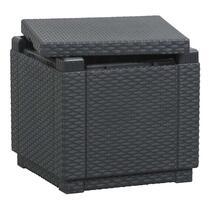 Alliberts Cube is een handig grijs voetenbankje met deksel gemaakt van kunststof (exclusief kussen).