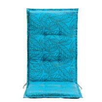 Le coussin pour fauteuil de terrasse Leaf de Le Sud est un coussin bleu azur/gris doté d'un imprimé joli de feuilles.