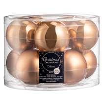 Kerstbal, set van 10 stuks - bruin mat/glanzend - glas - 6 cm