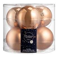 Kerstbal, set van 6 stuks - bruin mat/glanzend - glas - 8 cm
