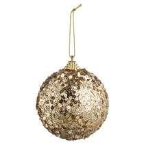 Kerstbal Paillet - goudkleur - foam - 8 cm