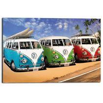 Wandpaneel Volkswagen Busjes - multikleur - 60x90cm