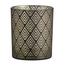 Theelichthouder Strauss - zwart/goudkleurig - 8,8x10 cm