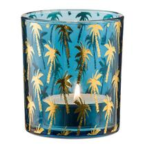 Theelichthouder Palmboom is blauw en heeft een afmeting van 10x8,8 cm.