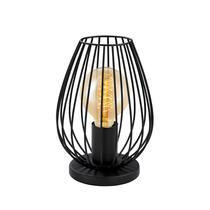 Lampe de table Newton d'EGLO en acier noir a une forme élégante. La lampe est mieux mise en valeur avec une ampoule vintage. Recupel inclus.