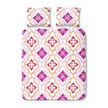 Cette parure de couette rose au dessin oriental sera belle dans votre chambre. La parure est faite en 100% coton et convient à un lit pour deux personnes.