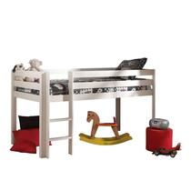 Vipack lit surélevé Pino avec bureau et bibliothèque - blanc