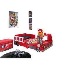 Autobed Fire Truck heeft een cabine met sirene op het dak. Dit brandweer autobed is volledig vervaardigd uit hoogwaardige MDF.