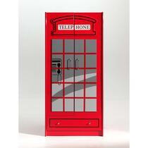Vipack 2-deurskleerkast Telefooncel London - rood - 190x90x56 cm