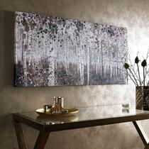 Een bos vol berkenbomen dat is deze stijlvolle watercolour canvas uit de collectie van Art for the Home.