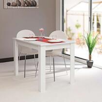 Eetkamertafel Batsto is wit van kleur en is geschikt voor voor max. 6 personen. Het meubel is gemaakt van spaanplaat in de kleur wit