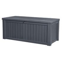 La boîte de rangement Rockwood a un volume de 570 litres. Cette boîte de rangement peut également être utilisée comme banc. Grâce aux renforts, deux adultes peuvent s'y asseoir facilement.