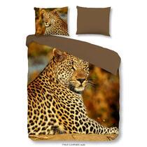 Sur cette parure de couette multicolore se trouve un imprimé d'un léopard. La housse est imprimée d'un côté. L'autre côté est taupe/brun uni. Cet article est un vrai atout dans votre chambre à coucher!