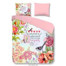 Dit zomerse multicolor dekbedovertrek is bedrukt met bloemen, tekst en vogeltjes en is enkelzijdig bedrukt. De andere zijde is effen roze van kleur. Dit dekbedovertrek is een aanvulling voor uw slaapkamer!