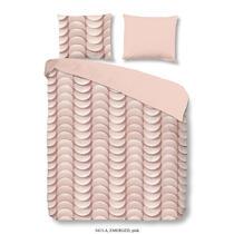 Cette parure de couette rose est imprimée d'un motif moderne. La parure est imprimée unilatéralement. Une côté est en couleur rose avec un dessin moderne. L'autre côté est en couleur rose unie.