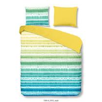 Dit multicolor dekbedovertrek is bedrukt met een verfpatroon. Het dekbedovertrek is enkelzijdig bedrukt. De ene zijde is multicolor van kleur met een verfpatroon. De andere zijde is effen geel van kleur.