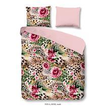 Cette parure de couette multicolore contient des dessins floraux et animaux. La parure est imprimée unilatéralement. L'autre côté est en couleur rose unie. Cette parure de couette est un atout pour votre chambre.