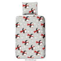 Op Deze dubbelzijdige, grijze dekbedovertrek staan pinguïns afgebeeld. Dit dekbedovertrek is dubbelzijdig bedrukt. Deze dekbedovertrek is een aanvulling op uw slaapkamer!