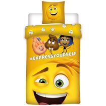 Op dit gele dekbedovertrek staat een afbeelding van Emoji. Het dekbedovertrek heeft een afmeting van 140x200 cm en een kussensloop van 60x70 cm wordt meegeleverd.
