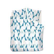 Dekbedovertrek Jess heeft een grafisch ontwerp met verschillende structuren. De driehoeken zijn opgebouwd in de kleuren zachtroze, mint groen en donker groen. Het overtrek is gemaakt van 100% katoen.
