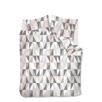 Dekbedovertrek Jess heeft een grafisch ontwerp met verschillende structuren in de kleuren zand, grijs en antraciet. Het overtrek is gemaakt van 100% katoen.