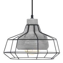 Hanglamp Consett van EGLO is een stoere en trendy hanglamp met een betonnen kap met daaroverheen een stalen draadframe in de kleur zwart.
