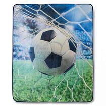 Good Morning plaid Sander is gemaakt van 100% polyvelvet. Het plaid is 130x160 cm en er staat een voetbal op afgebeeld.