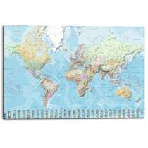 Wandpaneel Nederlandstalige Wereldkaart - veelkleurig - 60x90cm