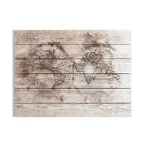 Art for the Home print op hout Wereldkaart - bruin - 80x60 cm