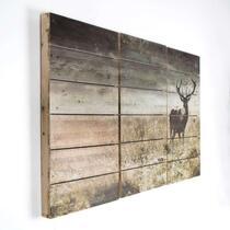 Art for the Home print op hout set Hert - 90x60 cm