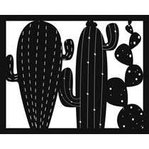 Art for the Home metal art Cactus - zwart - 40x50 cm