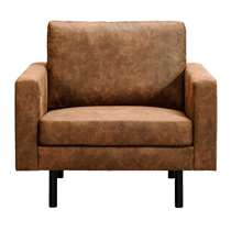 Fauteuil Collin is bekleed met stof Preston in de kleur cognac.