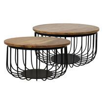 HSM Collection salontafel Maden (2 stuks) - naturel/zwart - 60x33 cm