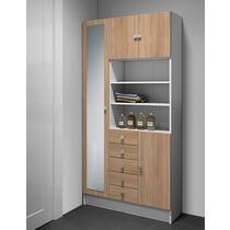 Symbiosis armoire de salle de bains Bladstrup - blanche/couleur chêne - 181,6x90x29,6 cm